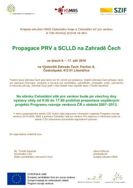 Propagace PRV a SCLLD na Zahradě Čech