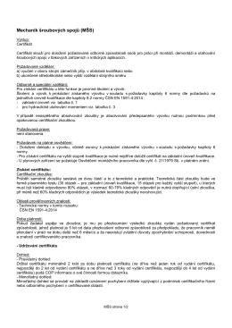 Mechanik šroubových spojů (MŠS)