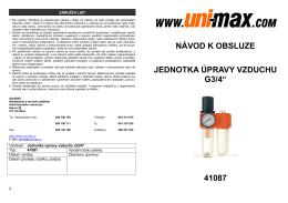 """návod k obsluze jednotka úpravy vzduchu g3/4"""" 41087 - UNi-MAX"""