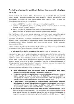 Pravidla pro tvorbu sítě sociálních služeb v