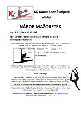 nábor mažoretek - Mažoretky KK Dance SANY Šumperk