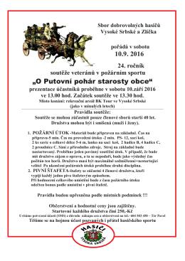 Pozvánka na soutěž veteránů do Zlíčka dne 10.9.2016