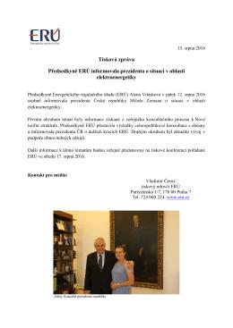 Tisková zpráva Předsedkyně ERÚ informovala prezidenta o situaci v