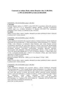 Usnesení ze schůze Rady města Benešov dne 11.08.2016