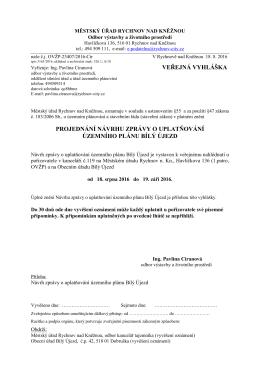 Projednání návrhu zprávy o uplatňování Územního plánu Bílý Újezd