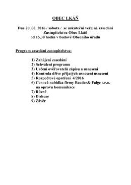 Program veřejného zasedání 20 8 2016