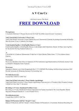 A V CZU CZ   Free PDF Book