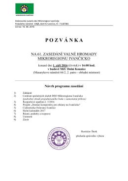 Pozvánka na 61. valnou hromadu Mikroregionu Ivančicko