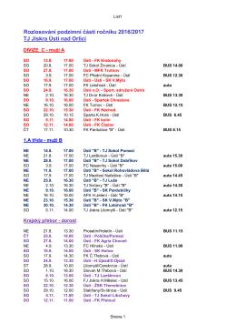 Podzim 2016 - program všech zápasů oddílu