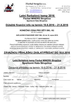 Přihláška a základní informace o florbalovém kempu, léto 2016