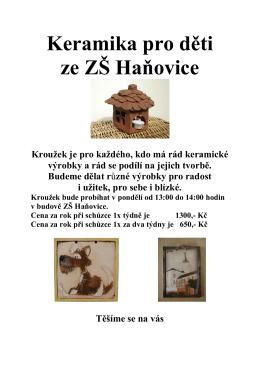 Keramika pro děti ze ZŠ Haňovice