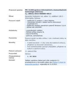 Pracovní pozice PM 51359 správce informačních a komunikačních
