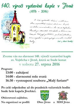 140. výročí vystavění kaple v Jivně