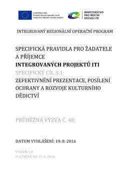 Specifická pravidla pro žadatele a příjemce_výzva č.