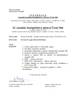 22. zasedání Zastupitelstva městyse Černý Důl