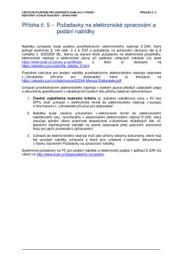 Příloha č. 5 – Požadavky na elektronické zpracování a podání nabídky