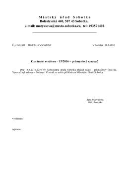 Oznámení o nálezu č. 15/2016 - průmyslový vysavač