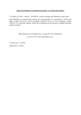 Záměr obce Bohuňovice propachtovat pozemky v k.ú. Moravská