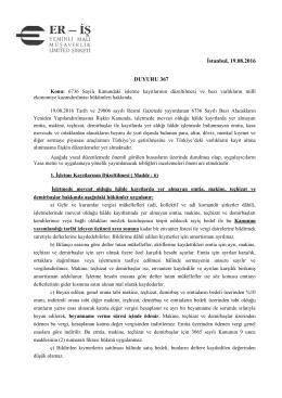 İstanbul, 19.08.2016 DUYURU 367