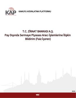 17.08.2016 TRQTCZB81616 ISIN Kodlu Bononun İtfası Hk.