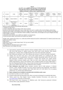 İşletme Fakültesi ve Altso MYO Kırtasiye ve Fotokopi İhale Duyurusu