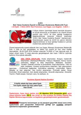 A.B.D. Batı Yakası İnceleme Ziyareti ve Minexpo Uluslararası