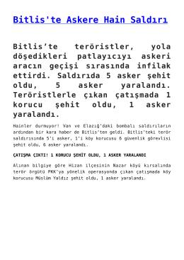 Bitlis`te Askere Hain Saldırı