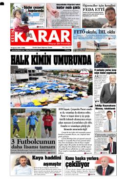 19 Ağustos 2016 - Kesin Karar Gazetesi