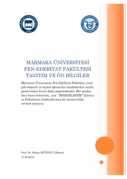 marmara üniversitesi fen-edebiyat fakültesi tanıtım ve ön bilgiler