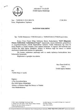 Bilgilendirme Toplantısı - Aksaray İl Milli Eğitim Müdürlüğü
