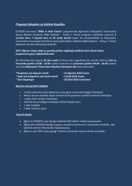 Program Detayları ve Katılım Koşulları