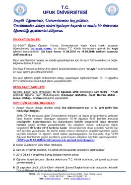 2016 ÖSYS KAYITTA GEREKLİ BELGELER ve