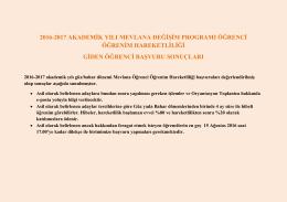 2016-2017 akademik yılı mevlana değişim programı öğrenci