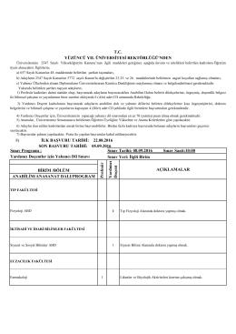 Sınav Programı : Yardımcı Doçentler için Yabancı