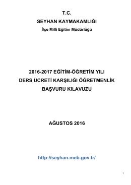 2016-2017 ücretli öğretmenlik başvuru kılavuzu