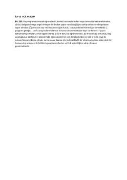 İLK VE ACİL YARDIM Bk. 233. Bu programa alınacak öğrencilerin