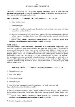 T.C. İSTANBUL BİLİM ÜNİVERSİTESİ 2016-2017 Eğitim