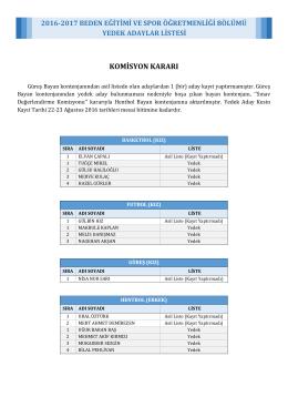beden eğitimi ve spor öğretmenliği bölümü yedek adaylar listesi