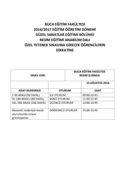 Resim Öğretmenliği Eleme Sınavı Duyurusu!!