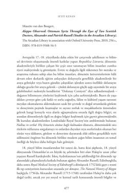 18. yy. Osmanl   Haleb`i zerine bir G  zlem