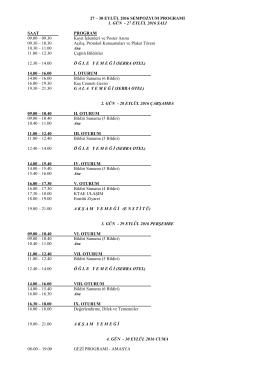 28-31 mayıs 2007 sempozyum programı