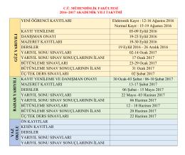 mühendislik fakültesi 2016–2017 akademik yılı takvimi