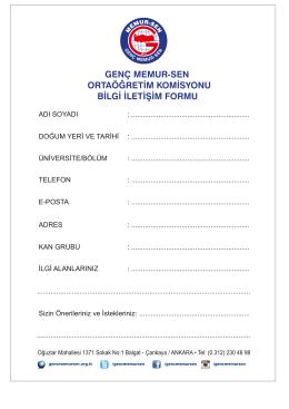 genç memur-sen ortaöğretim komisyonu bilgi iletişim formu
