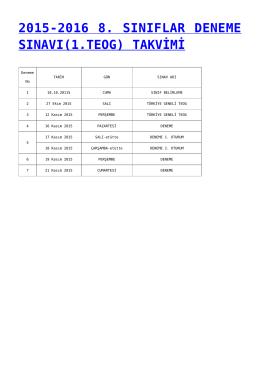 2015-2016 8. sınıflar deneme sınavı(1.teog) takvimi