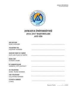 AVÜ-YÖS Başvuru-FORM - Avrasya Üniversitesi