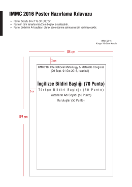 IMMC 2016 Poster Hazırlama Kılavuzu