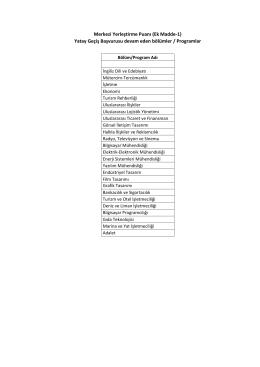 Yatay Geçiş Başvurusu devam eden bölümler / Programlar