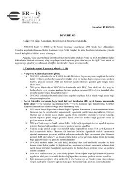 duyuru 365 - Eriş Yeminli Mali Müşavirlik Ltd. Şti.