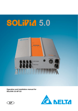 Operation and installation manual for SOLIVIA 5.0 AP G3