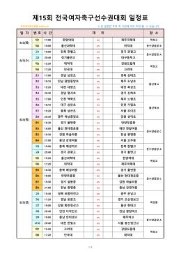 제15회 전국여자축구선수권대회 일정표